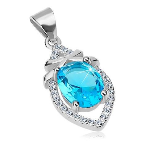 Přívěsek ze stříbra 925, azurově modrý ovál, hladké proužky, čiré zirkony Šperky eshop