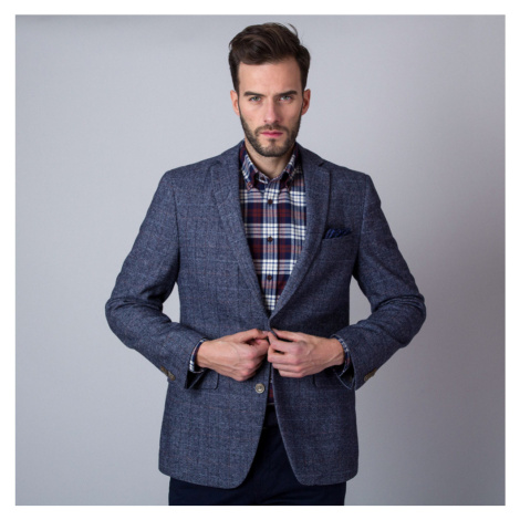 Pánské sako šedé barvy s károvaným vzorem 11277
