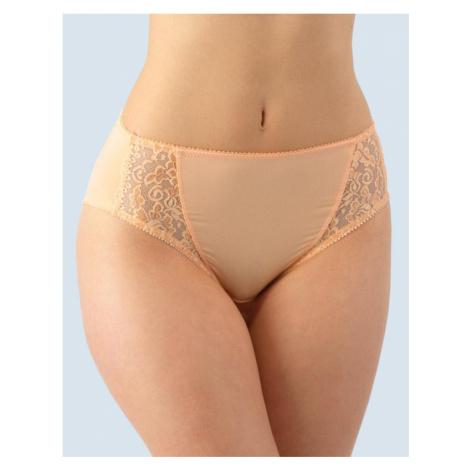 GINA Klasické kalhotky vyšší bok s krajkou 10120-LEO lososová