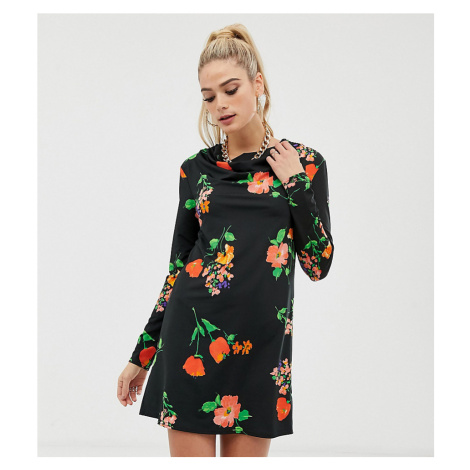 ASOS DESIGN Tall long sleeve cowl shift dress in pansy print-Multi