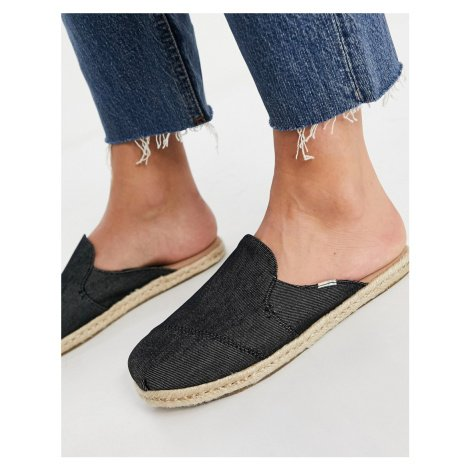 Toms nova slip on mule espadrilles in black denim