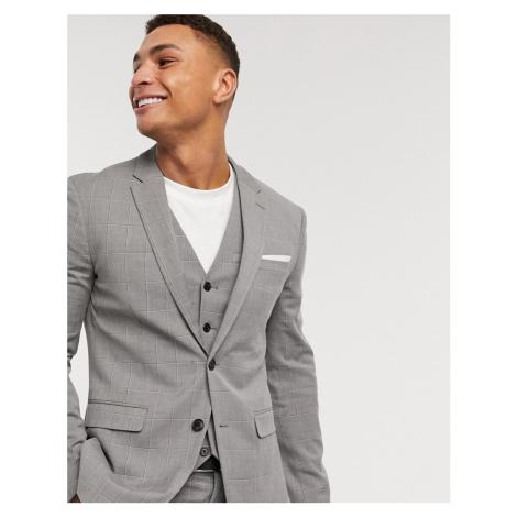 Celio slim suit jacket in dark grey check