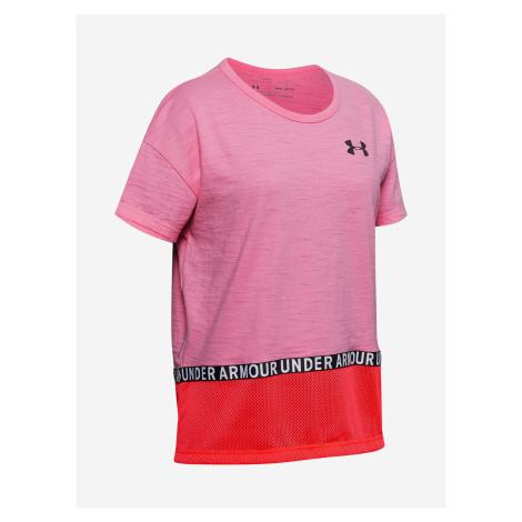 Tričko Under Armour Charged Cotton Taped Ss T-Shirt Růžová