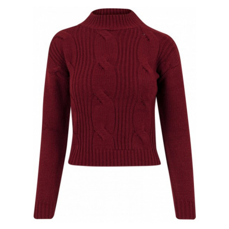 Urban Classics Ladies Short Turtleneck Sweater burgundy