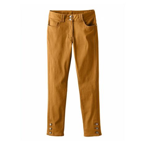Blancheporte 7/8 kalhoty s knoflíky karamelová