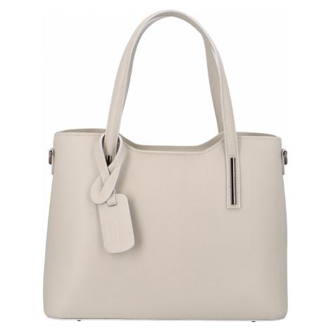 Větší kožená kabelka krémově šedá - ItalY Sandy