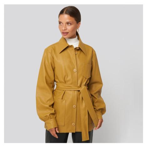 Žlutá PU kožená bunda s balónovými rukávy NA-KD