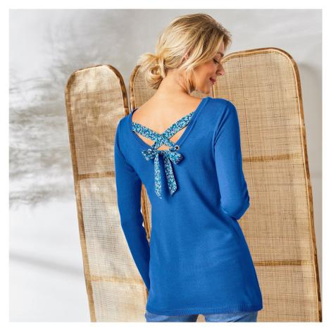 Blancheporte Jednobarevný pulovr se šněrováním zádech, potisk květin modrá