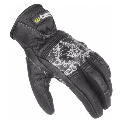 Dámské Kožené Moto Rukavice W-Tec Polcique Nf-4206 Černo-Bílá