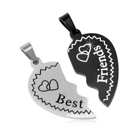 Ocelové přívěsky Best Friends - rozlomené srdce se srdíčky, dvoubarevné Šperky eshop