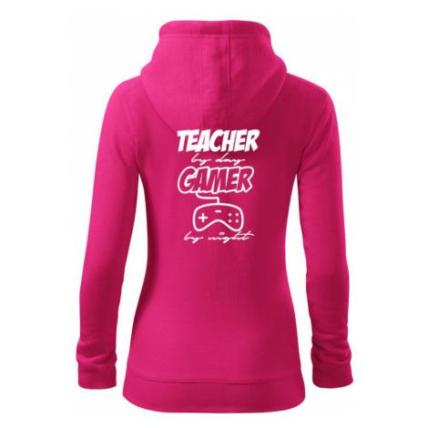 Teacher by Day Gamer by Night - Dámská mikina trendy zippeer s kapucí
