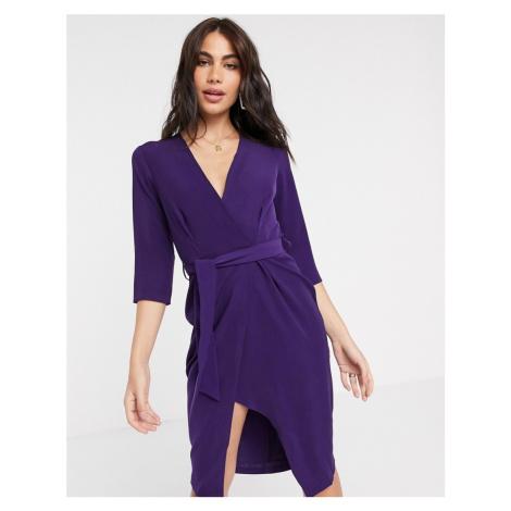 Closet 3/4 sleeve wrap pencil dress in purple