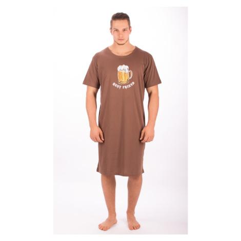 Pánská noční košile s krátkým rukávem Vienetta Secret Velké pivo | červená