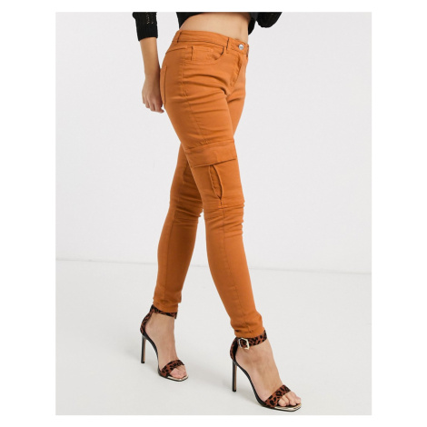 Parisian skinny jeans with cargo pockets-Brown