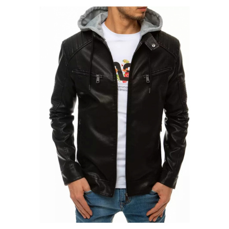 Dstreet Trendová koženková bunda v černé barvě