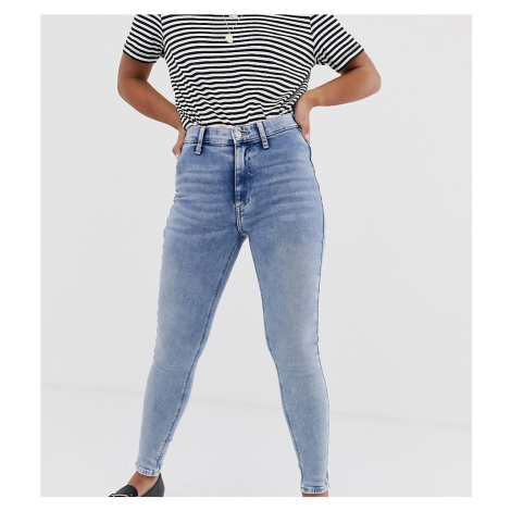 River Island Petite Kaia skinny jeans in light wash-Blue
