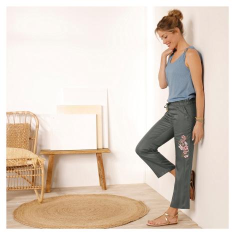 Blancheporte 7/8 kalhoty s výšivkou bronzová