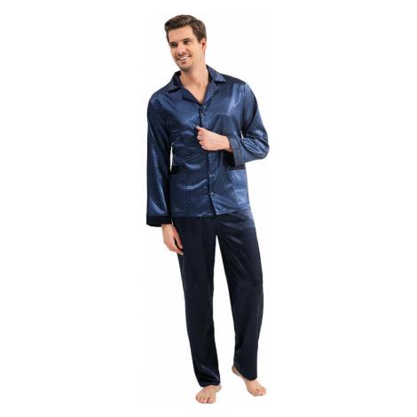 Pánské saténové pyžamo Charles modré Luna