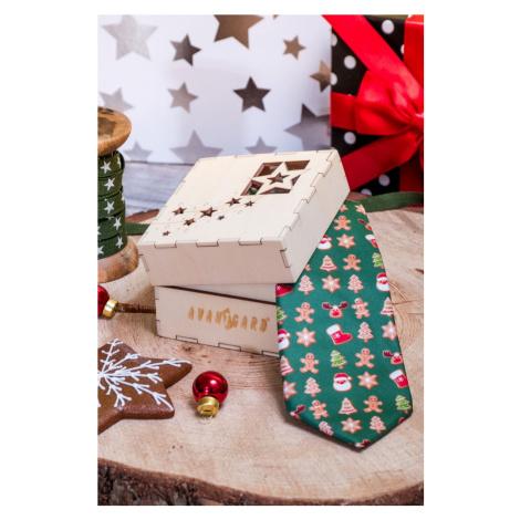 Dřevěná dárková krabička - vánoční vzor, na kravatu Avantgard