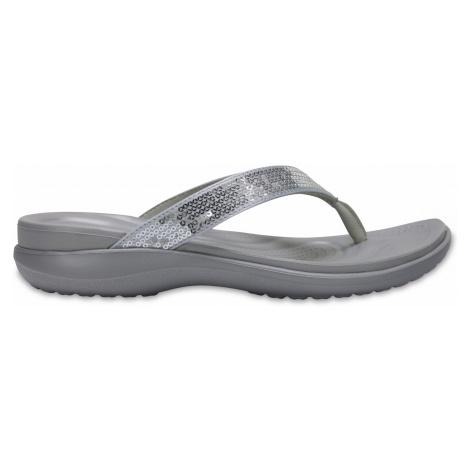 Crocs Capri V Sequin Flip W - Silver W9