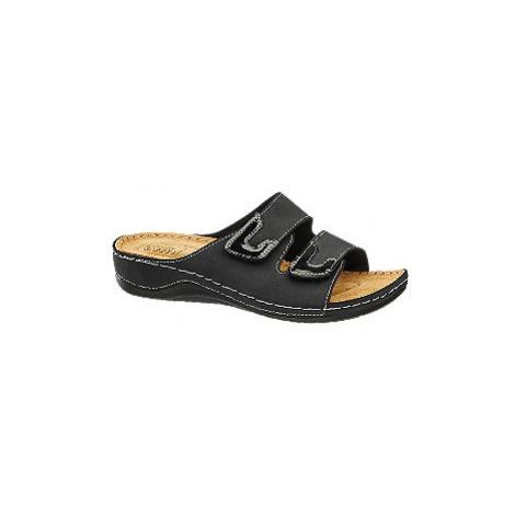 Černé kožené komfortní pantofle Easy Street