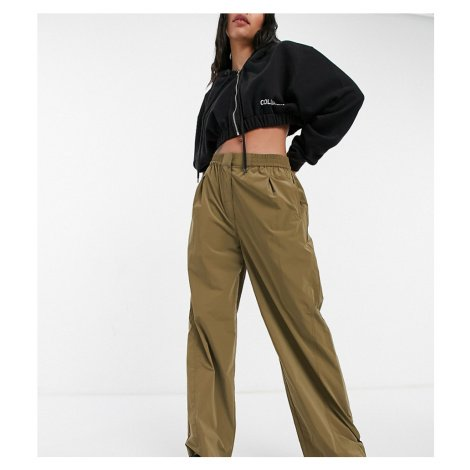 COLLUSION relaxed fit nylon trousers in dark khaki-Green