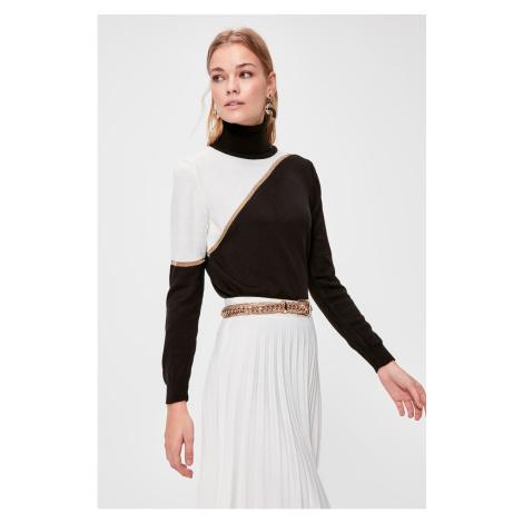 Trendyol Black Turtleneck Colorblock Knitwear Sweater