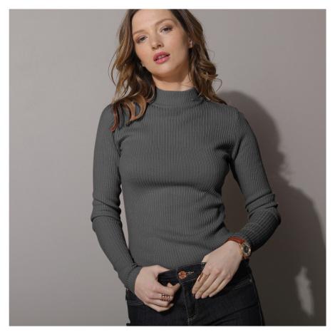 Blancheporte Žebrovaný pulovr se stojáčkem, délka cca 63 cm purpurová