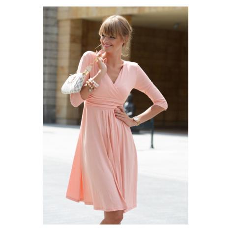 Delší vycházkové šaty s tříčtvrtečním rukávem barva broskvová Oxyd
