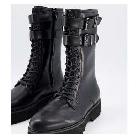 ASOS DESIGN Wide Fit high lace up boots in black faux leather with raised chunky sole and hardwa