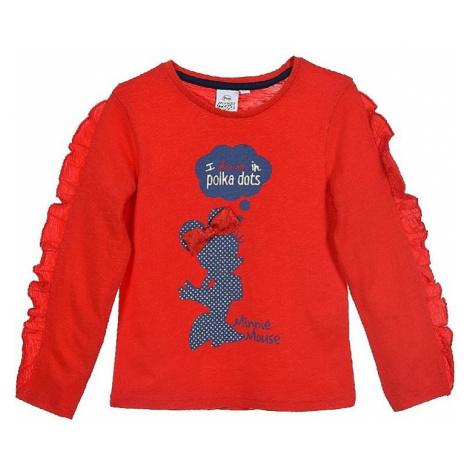 Minnie mouse červené dívčí tričko s volánem Disney