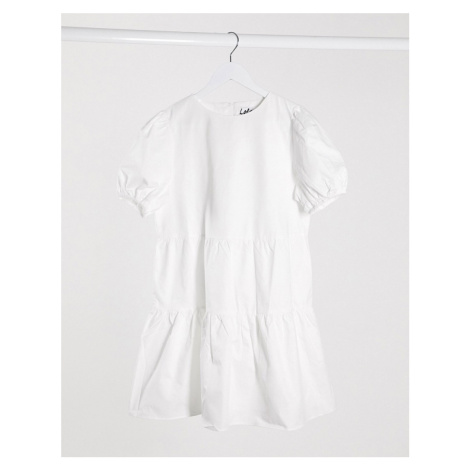Lola May smock dress with puff sleeve-White