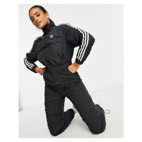 Adidas Originals adicolor three stripe logo boilersuit in black