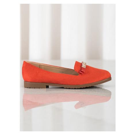 Originální dámské  baleríny oranžové bez podpatku