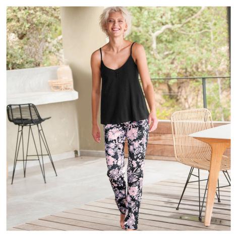 Blancheporte Pyžamové kalhoty ze saténu, potisk černá