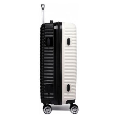Černobílý cestovní kvalitní prostorný střední kufr Atsen Lulu Bags