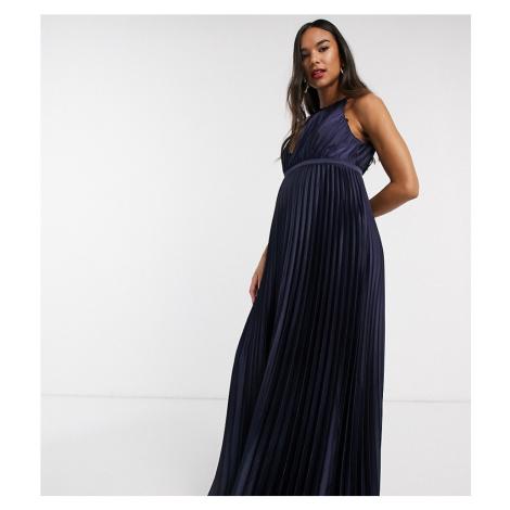 Chi Chi London Maternity high neck satin maxi dress in navy
