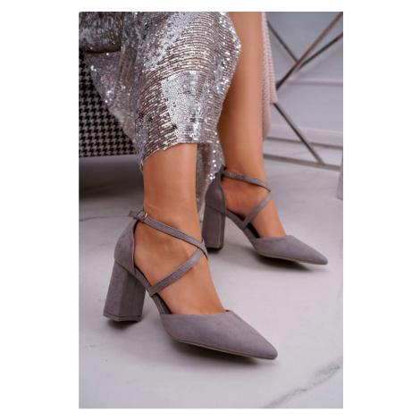 Women's Pumps On Heel Suede Grey Future Kesi