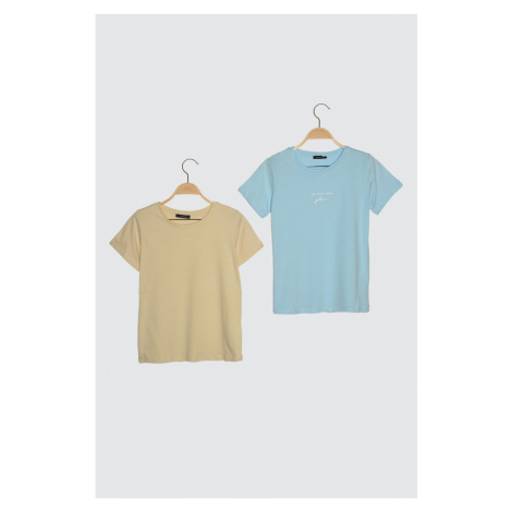 Trendyol Blue-Beige 2 Pack Basic Bicycle Collar Knitted T-Shirt