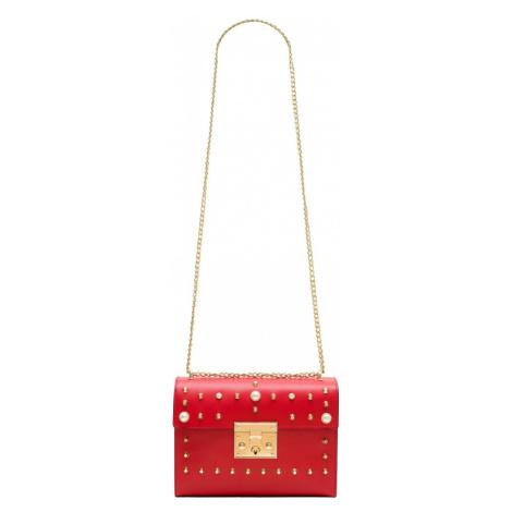 Dámská kožená crossbody kabelky s perličkami - červená Glamorous