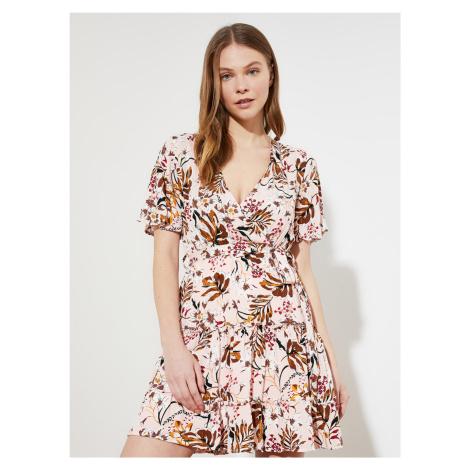 Trendyol béžové květované šaty