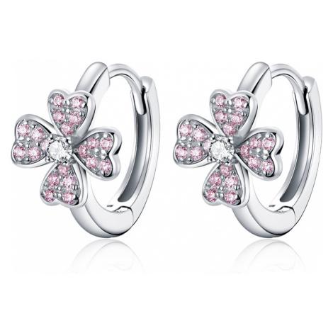 Linda's Jewelry Stříbrné náušnice Růžový Čtyřlístek Ag 925/1000 IN204
