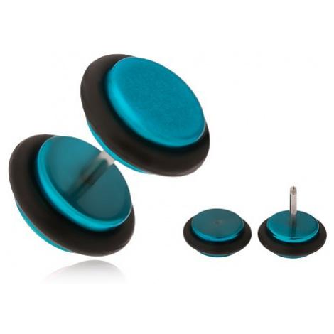 Azurově modrý fake plug do ucha, akrylová kolečka Šperky eshop