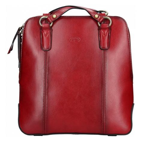 Dámská kožená batůžko kabelka Katana Martina - tmavě červená