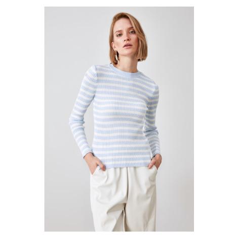 Trendyol Blue Striped Knitwear Sweater