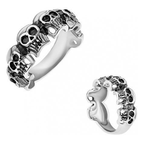 Prsten z chirurgické oceli, malé patinované lebky, stříbrná barva Šperky eshop
