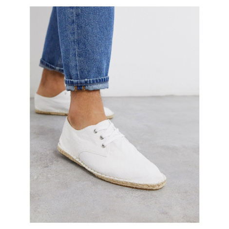 ASOS DESIGN lace up espadrilles in white textured canvas