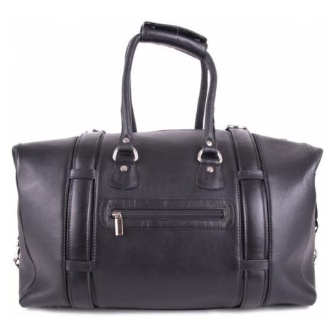 Černá velká kožená luxusní cestovní taška Ventlie Arwel