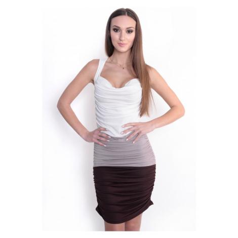 Řasené šaty bez rukávů barva bílá/béžová