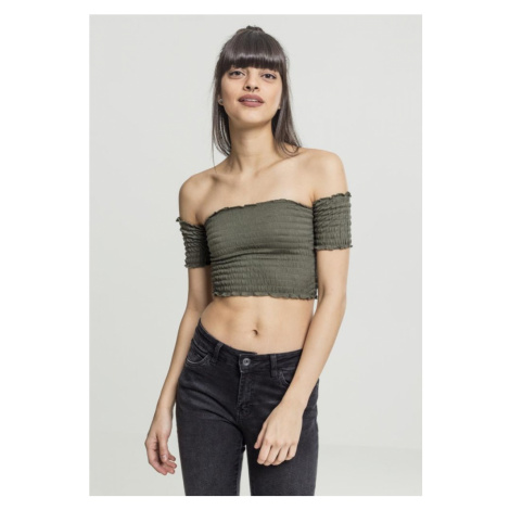 Ladies Cropped Cold Shoulder Smoke Top - olive Urban Classics